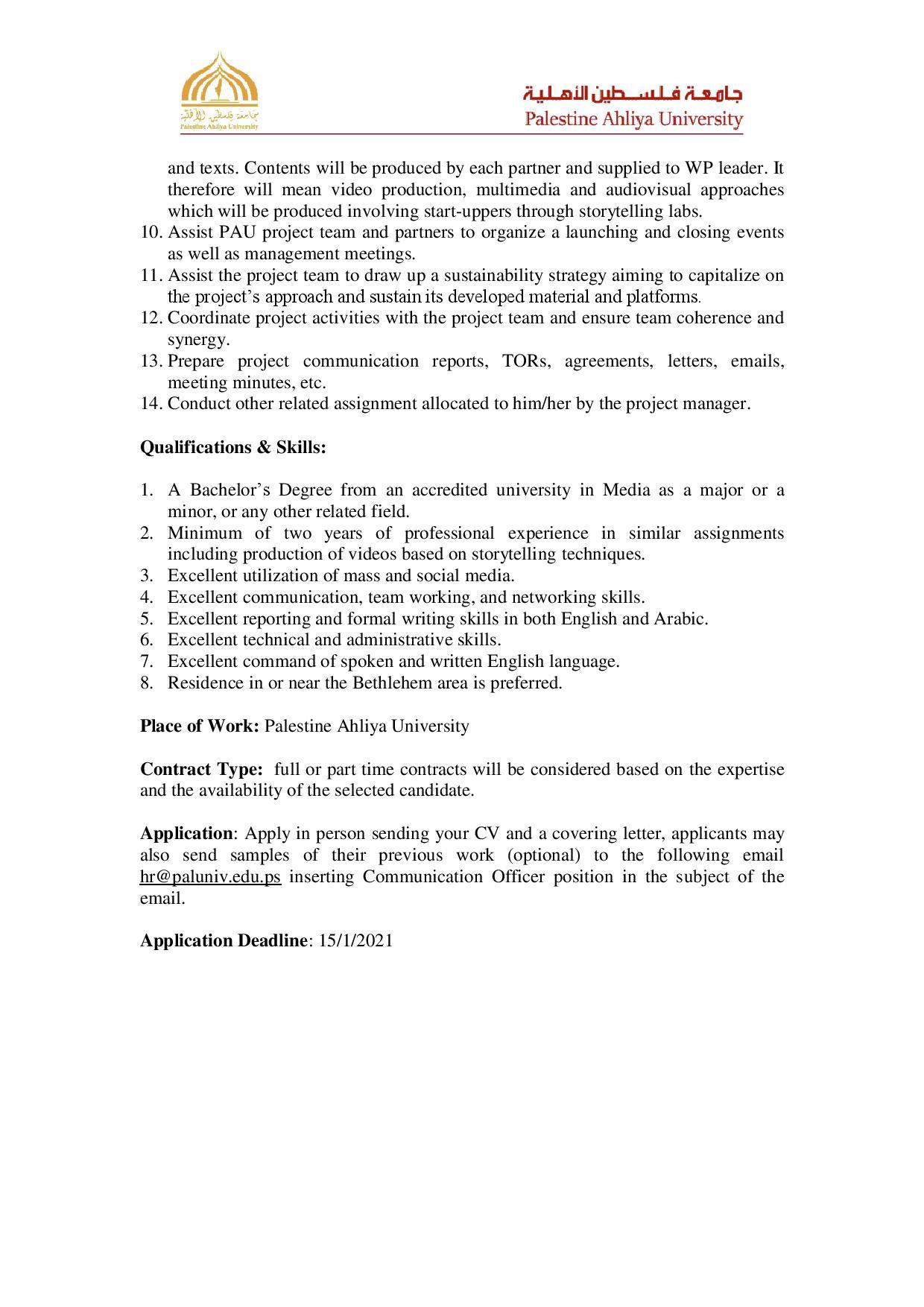 TOR Communication officer U Solve page 002 - Job Opportunity at Communication Officer