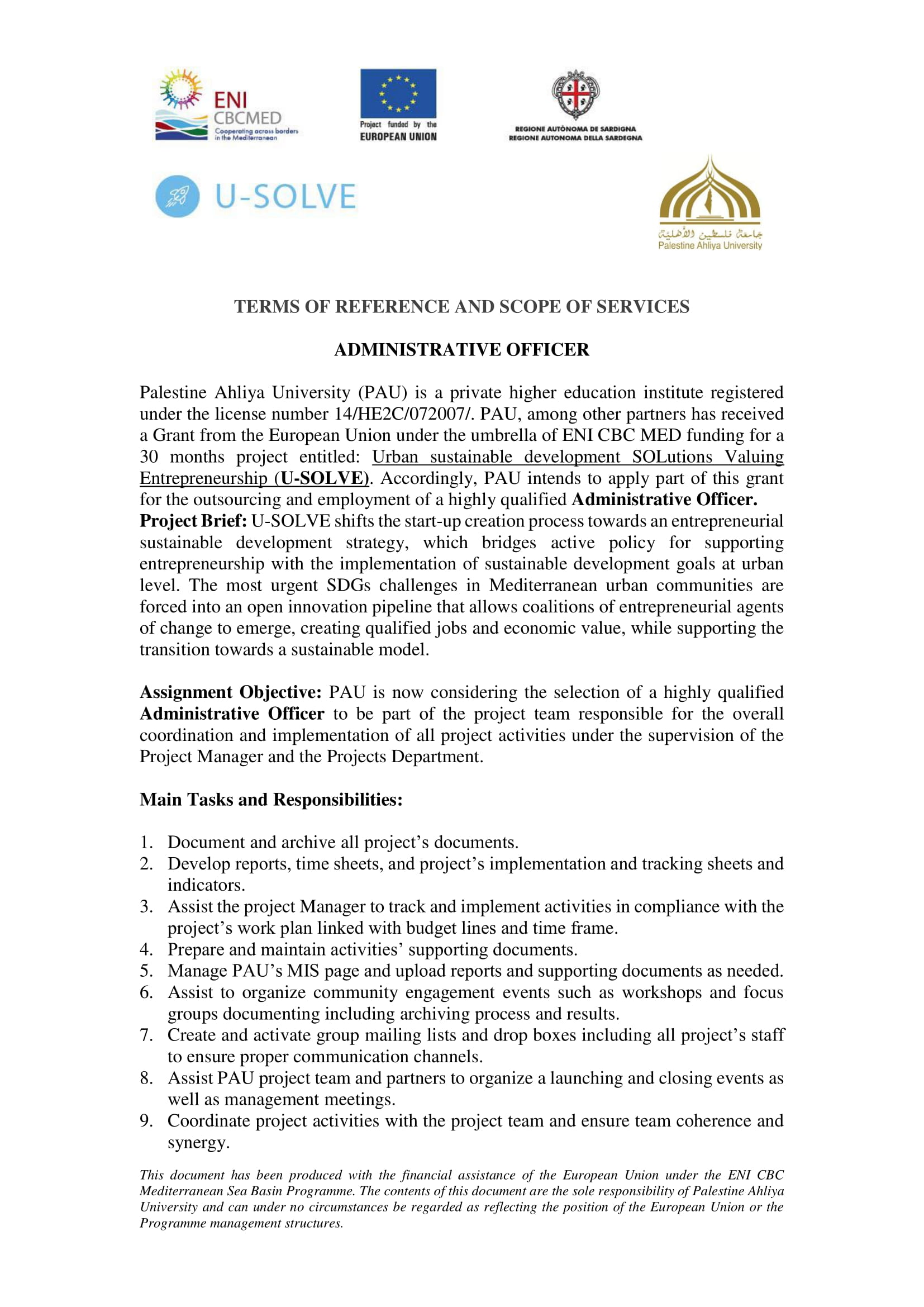 TOR administrative assistant- U-SOLVE
